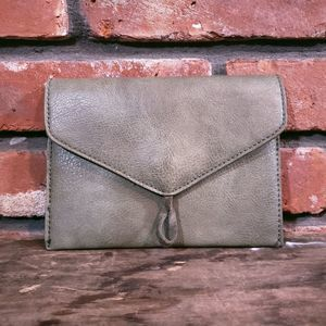 Anthropologie Olive Faux Leather Pouch Clutch